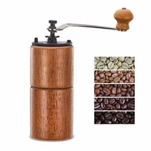 The Fumao Hand Coffee Grinder Wooden Coffee Mill with Ceramic Burr is pictured over a field of white