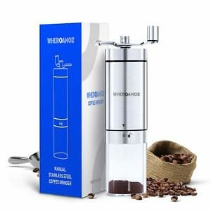 The Wheroamoz Manual Coffee Grinder is pictured over a field of white