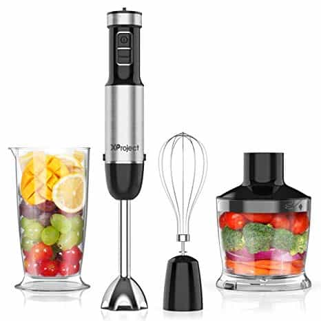 The XProject 5-in-1 Hand Blender with 12 Speed is pictured over a field of white