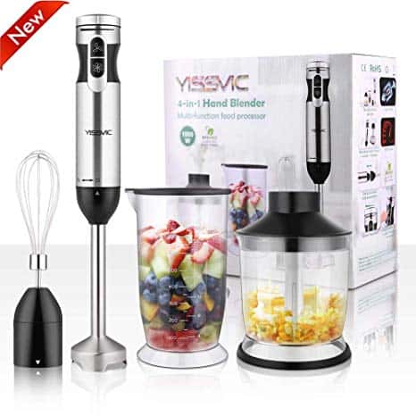 The YISSVIC Hand Blender is pictured with its box and accessories