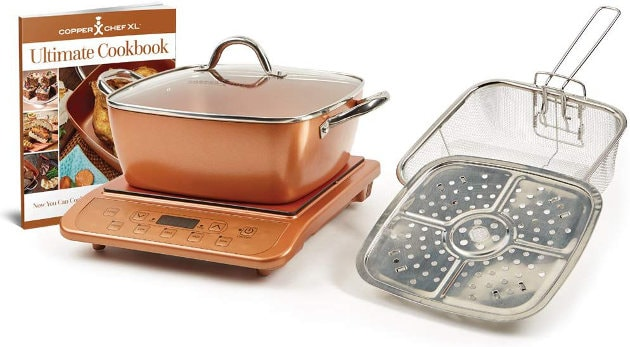 COPPER CHEF 853 CASSEROLE & INDUCTION 5 PIECE SET &1300W COPPER INDUCTION COOKTOP