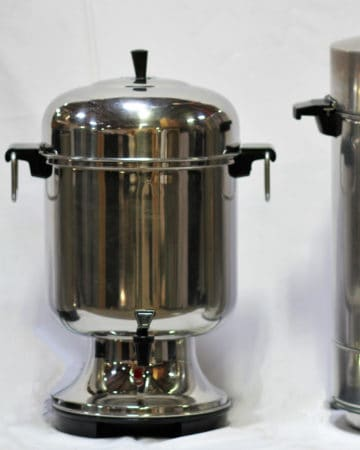 Three Coffee Urns Lined Up