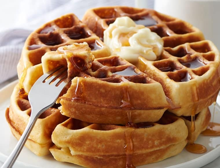 Belgian Waffle with syrup and butter