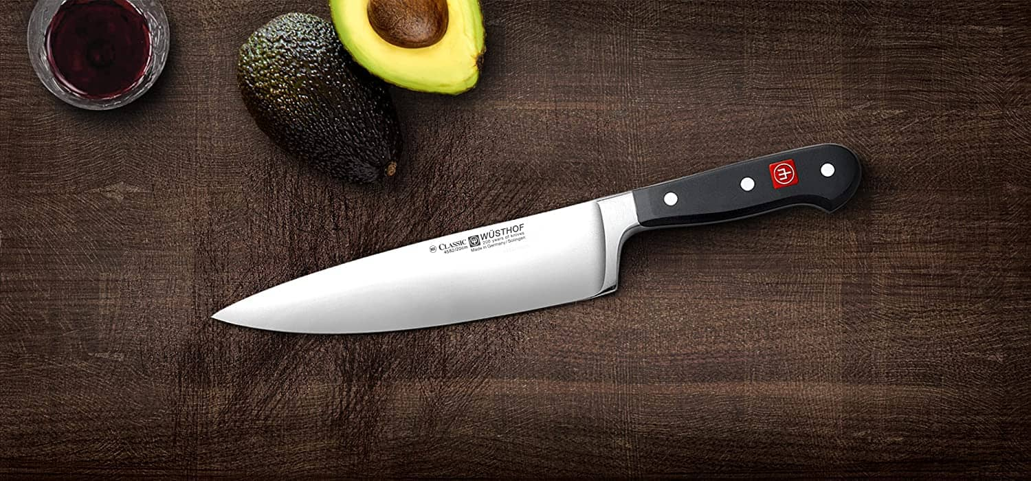 Chef knife with avocado