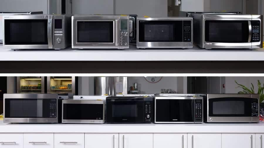 Different styles of countertop microwaves