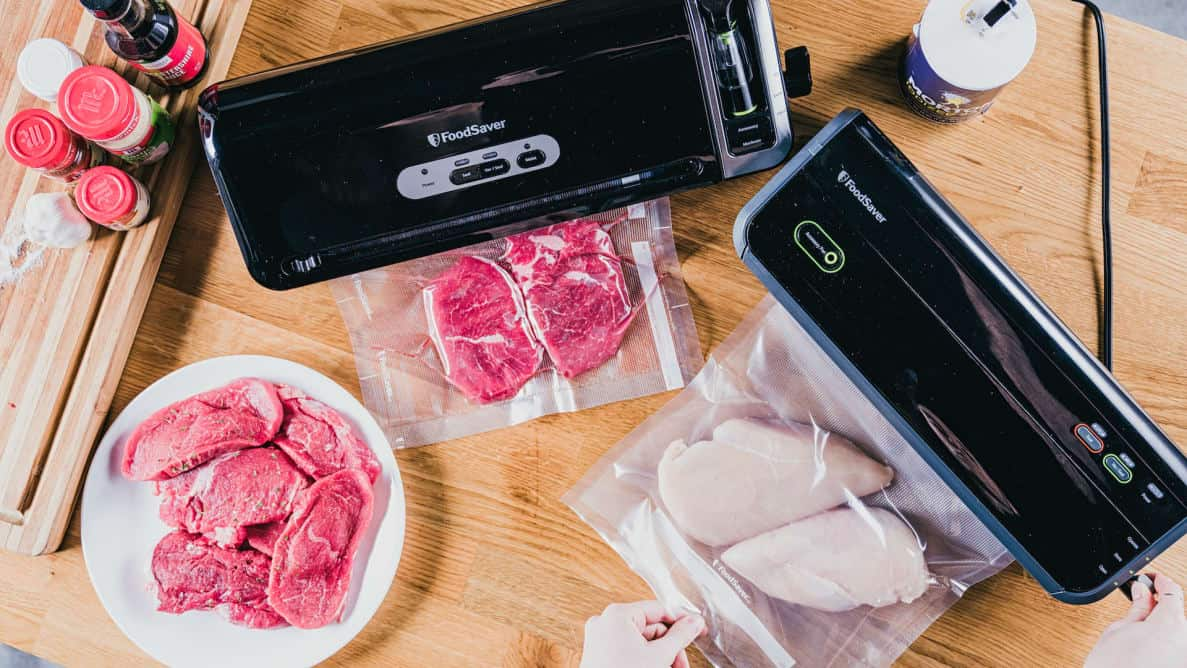 Vacuum sealers with meat
