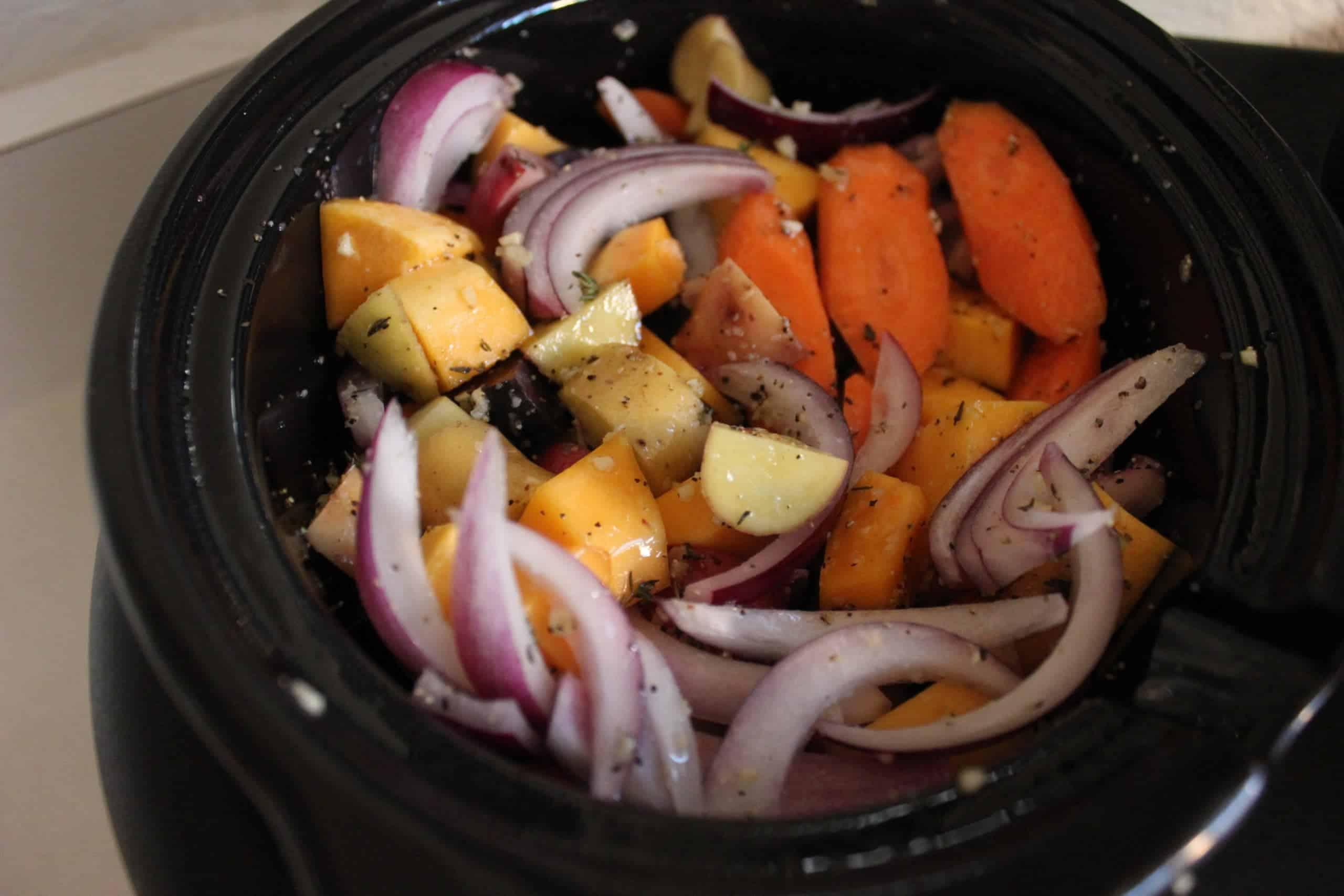 Vegetables inside a crock pot