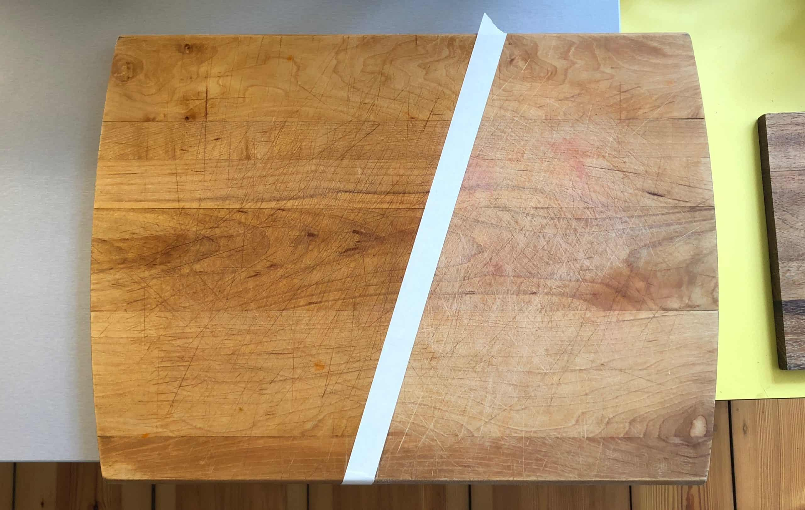 Before and after applying a layer of cutting board oil