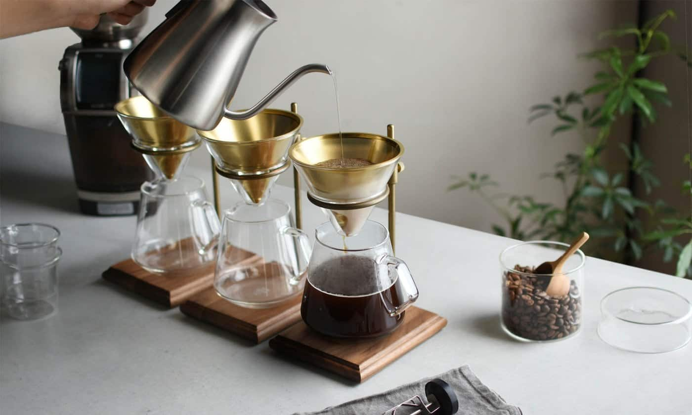 Pour-over coffee with electric kettle
