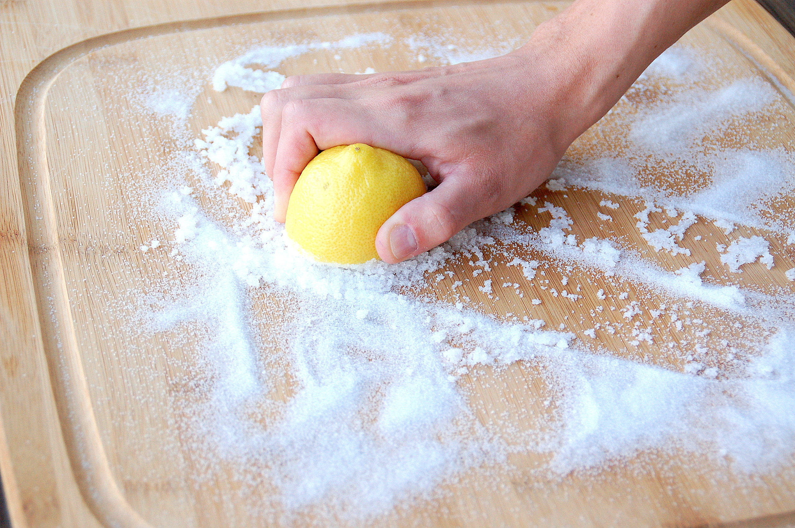 Removing stains and odors from wood cutting board