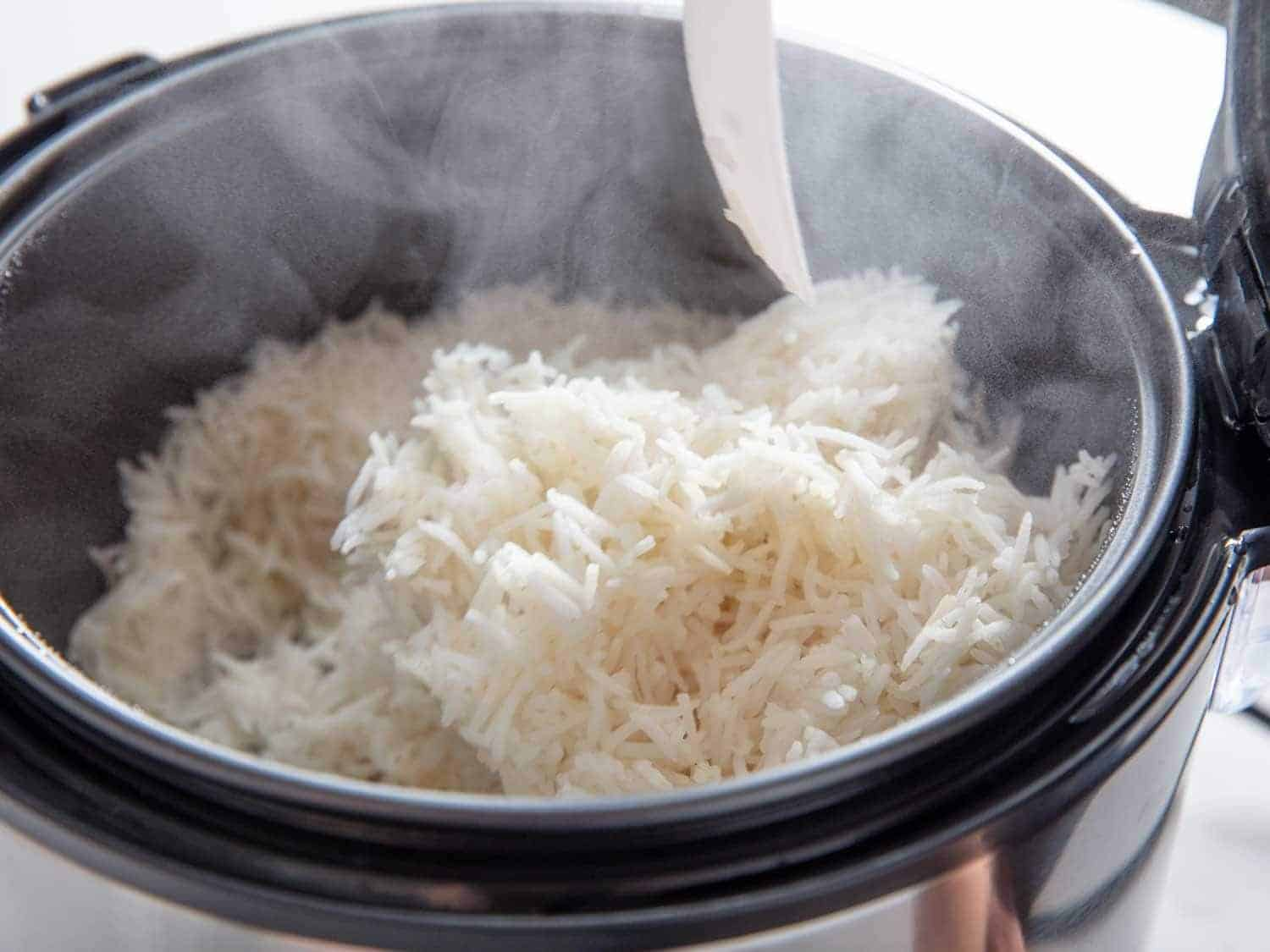 Steam releasing from rice cooker