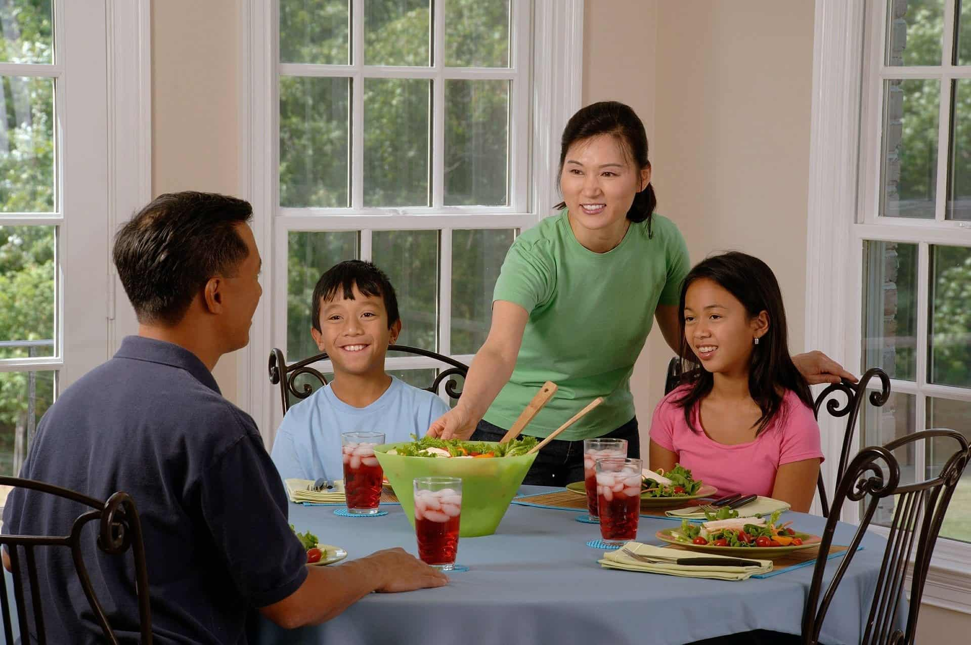Family eating at a table together