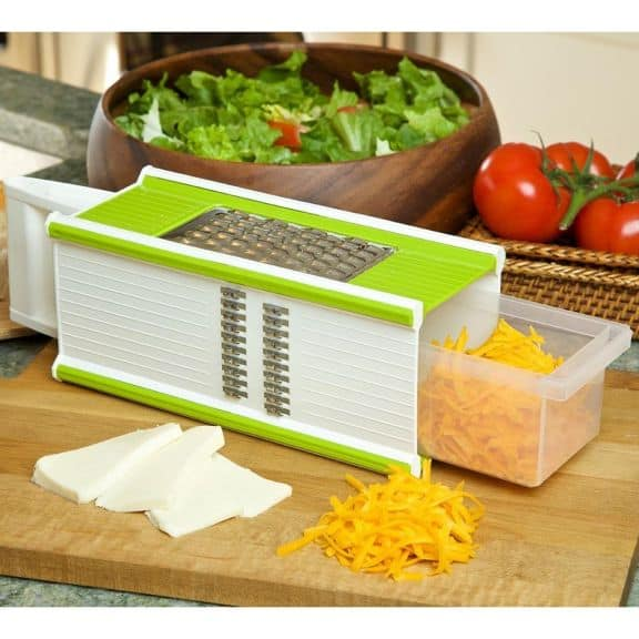 Grated cheese using a vegetable chopper