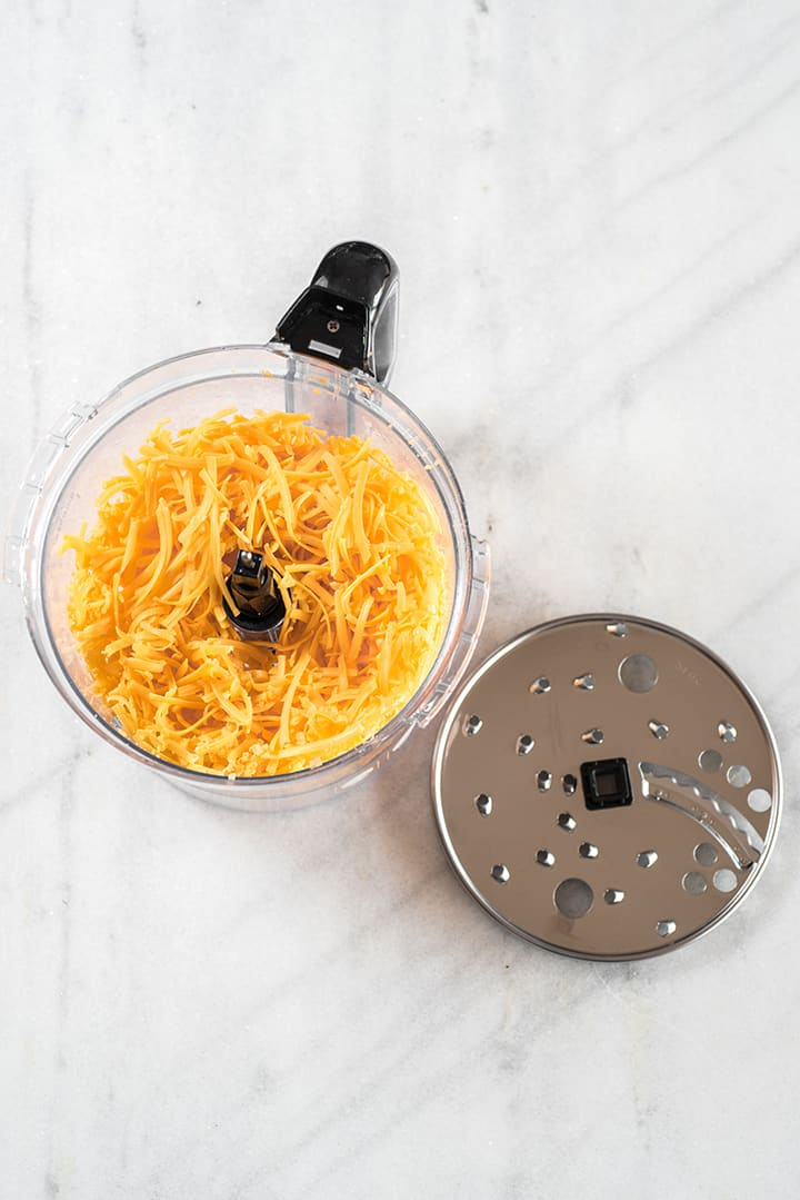 Grating cheese in a food processor