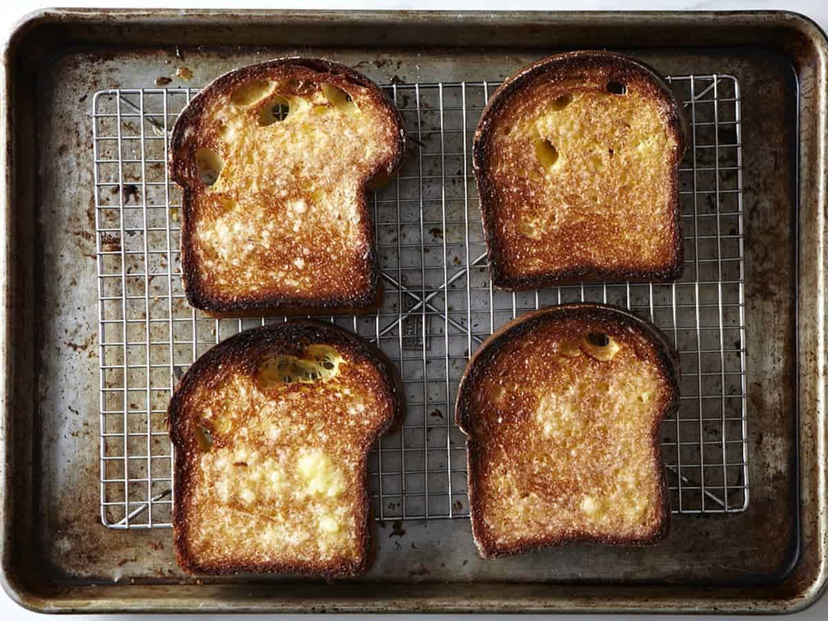 Slow toasting bread in the oven, on a baking sheet