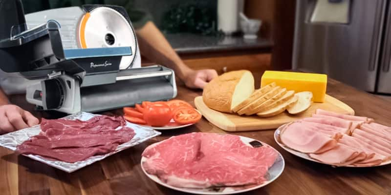 Variety of foods sliced with a meat slicer
