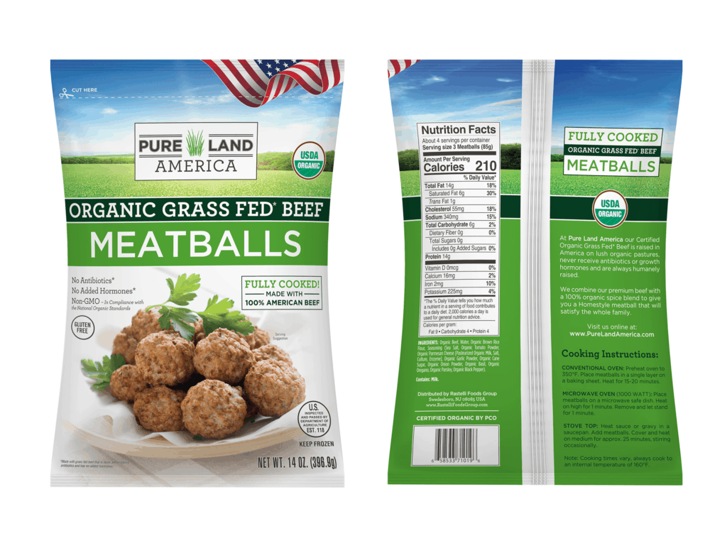 Pure Land America USDA Certified Organic Grass-Fed Beef Meatballs