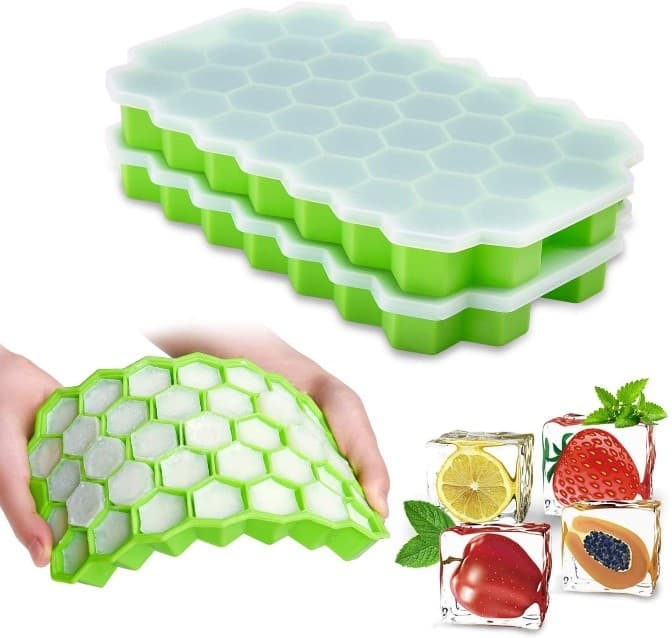 Rechichhre 2-Pack Ice Cube trays with lids