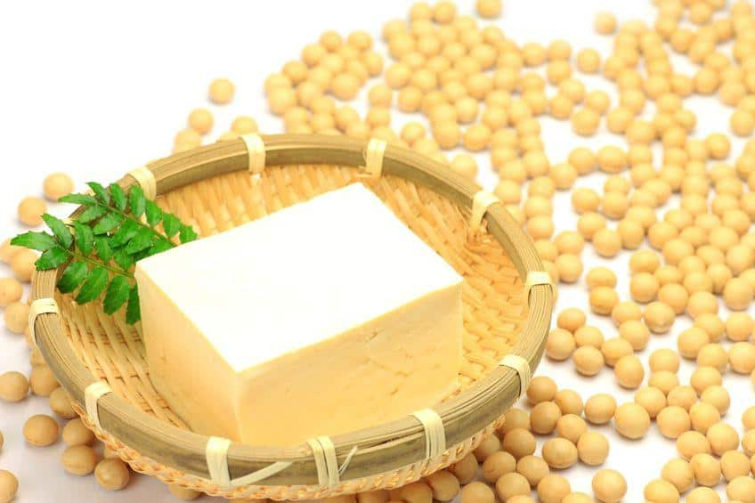 Tofu block and soy beans