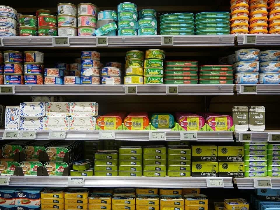 Canned salmon on shelves