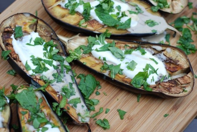 Grilled eggplant topped with tahini
