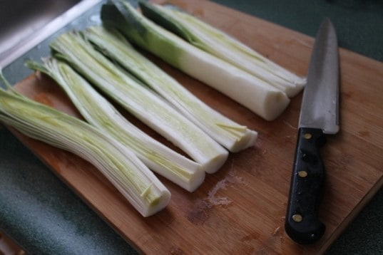 Leeks on cutting board