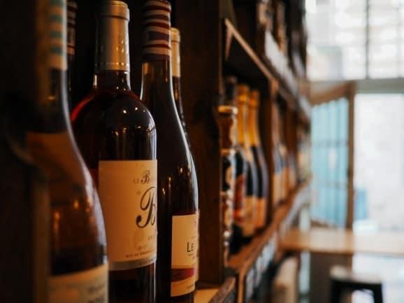Wine bottles in shelves