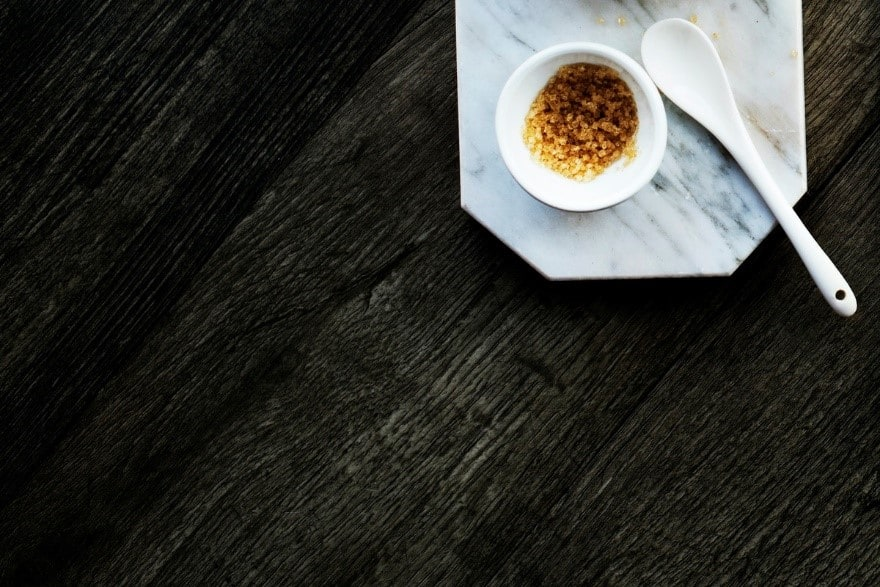 brown sugar in white bowl on table