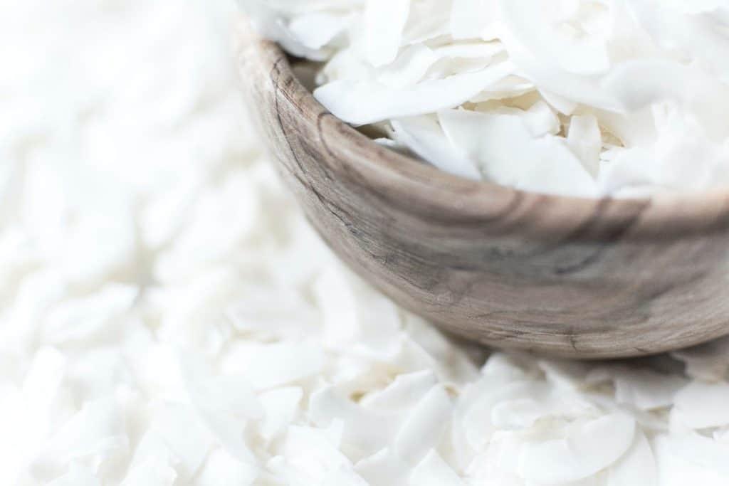 shredded coconut in bowl