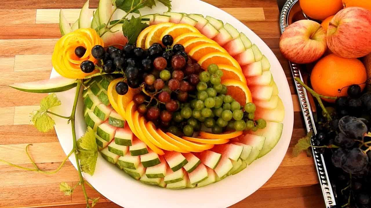 Carved fruit platter using a boning knife