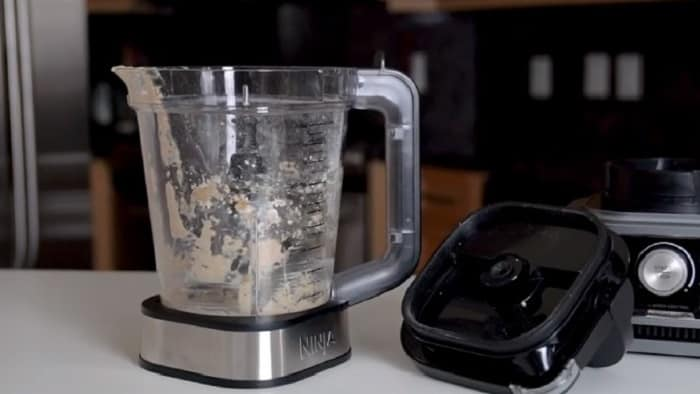 Dirty blender with food stuck inside